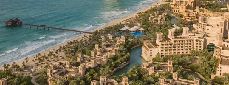 Madinat Jumeirah - Al Qasr hotel and Dar Al Masyaf summer houses - aerial view